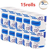 Silky & Smooth Soft Professional Series Premium 3-Ply Toilet Paper, Home Kitchen Toilet Tissue, Soft, Strong and Highly Absorbent Hand Towels for Daily Use (15 Rolls)