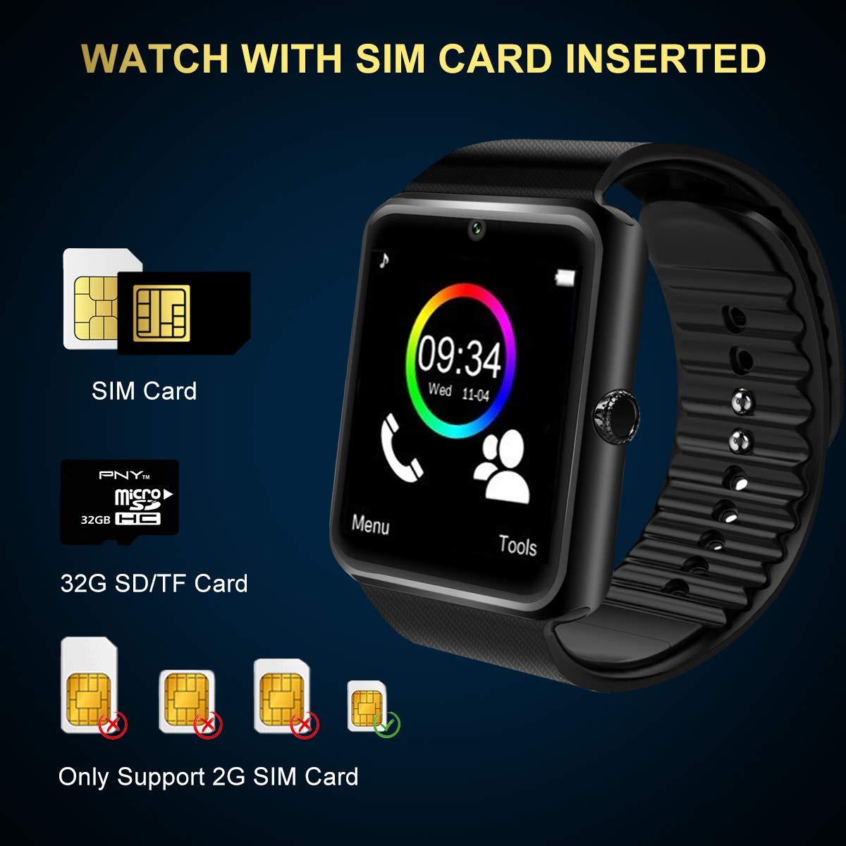 Reloj Inteligente Smart Watch Relojes Deportivos con Camara Whatsapp Bluetooth Smartwatch Pantalla Táctil Teléfonos Inteligentes Compatible iPhone ...