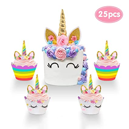 Tremendous Unicorn Cake Topper And Unicorn Cupcake Toppers Wrappers Set Funny Birthday Cards Online Unhofree Goldxyz