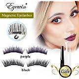 Magnetic Eyeliner set 2 Pair Black & Purple Magnetic Eyelashes Upper, New 5D Mink False Eyelashes Reusable Eyelashes with Tweezers and Makeup Cotton Swab