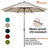 Abba Patio Sunbrella Patio Umbrella 9 Feet Outdoor Market Table Umbrella with Auto Tilt and Crank, Beige