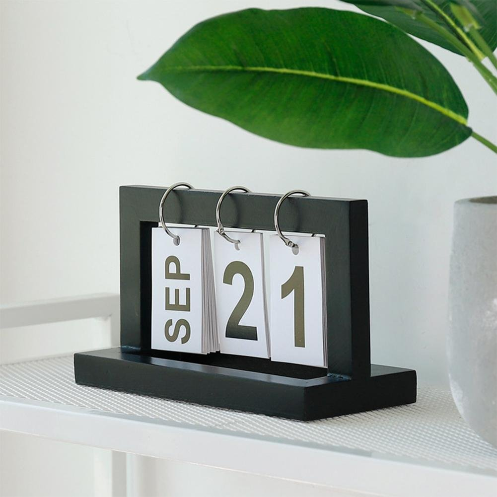Fancylande Perpetual Calendar Calendar Cube Calendar Magnetic Perpetual Calendar Shabby Vintage Antique Effect Large Metal Flip Case Perpetual Calendar
