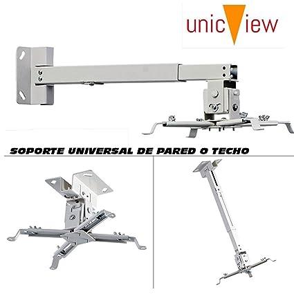 Soporte universal de techo o pared para proyector, montaje a techo videoproyector, resistente a más de 15kg (Techo-pared 15 a 65cm)