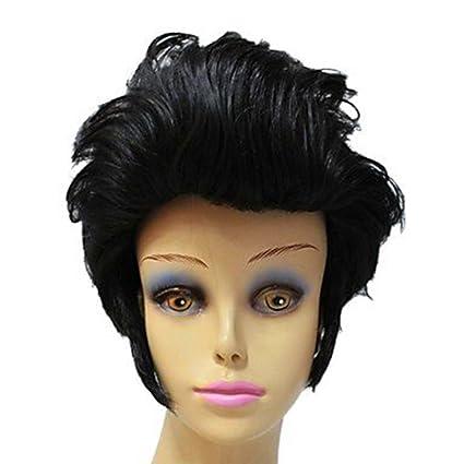 Elvis Aron Presley Celebrity Peinado sintético corto negro rizado completo peluca