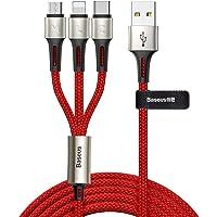 Baseus CAMLT-GH09 Caring Touch Selection 3'ü 1 Arada USB Kablo, Kırmızı
