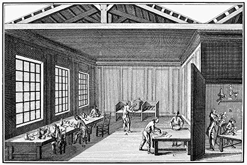 Pottery 18Th Century Npaints Were Prepared At The Table (C) Applied By The Artists Working At A Work Bench Placed In A Good Light (D) And Baked On In The Little Oven At The Rear (A) Copper Engraving F ()