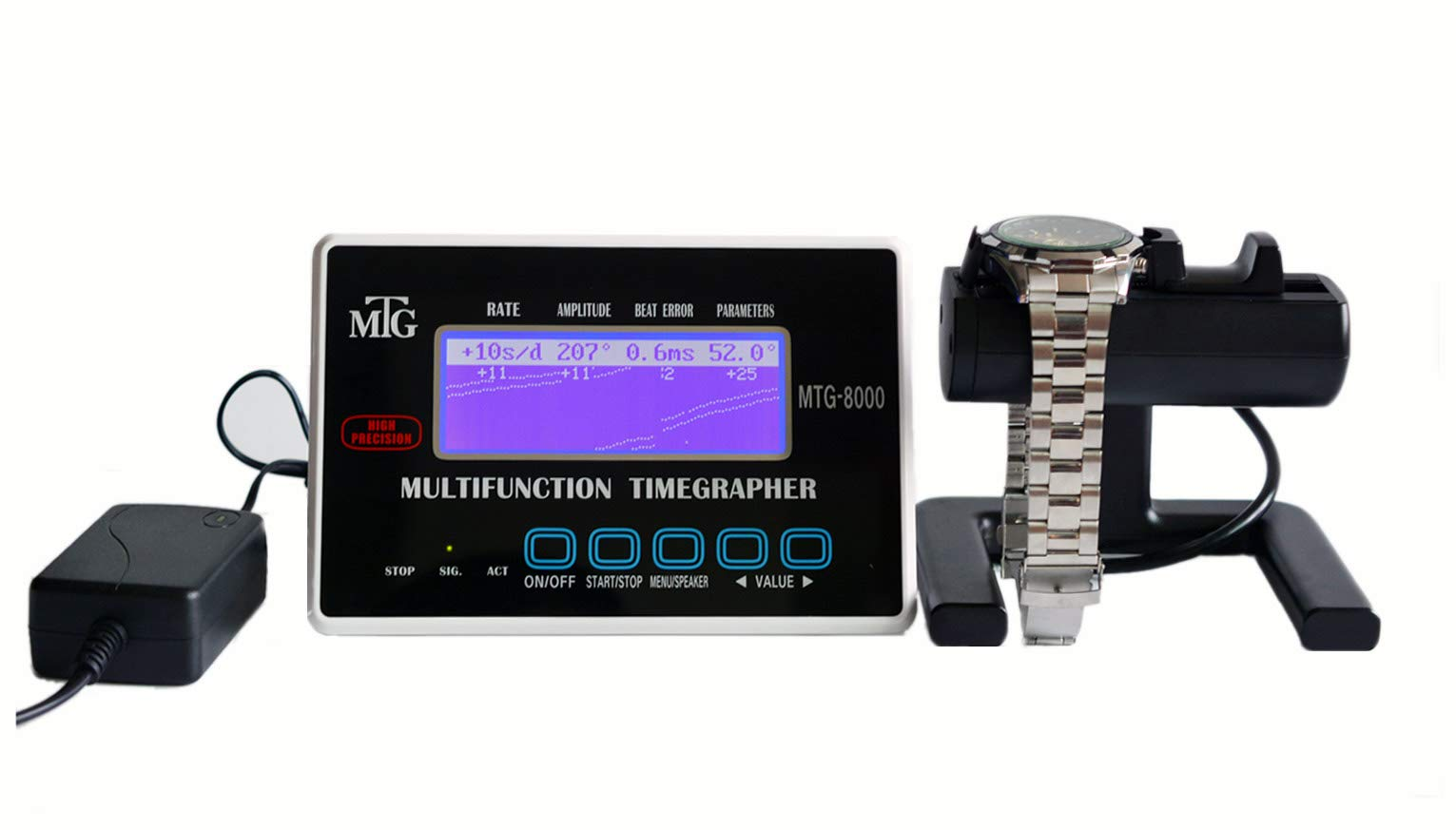 Mechanical Watch Tester Timing Multifunction Timegrapher MTG-8000 touch button