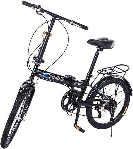 Adulto Bicicleta Para Estudiantes Trabajadores De Oficina,Lightweigh Bicicleta Plegable Ruedas De 16 Pulgadas,Bicicleta Plegable Urbana Cambio De 7 Velocidades,Guardabarros Portador Trasero Negro 16in: Amazon.es: Deportes y aire libre