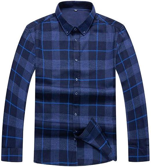 ZJEXJJ Camisas para Hombres Camisetas sin Mangas de Manga Larga Camisas Tipo Polo con Botones Camiseta a Cuadros Ropa de Trabajo para Hombres de Negocios Camisa a Cuadros Suelta de Gran tamaño: