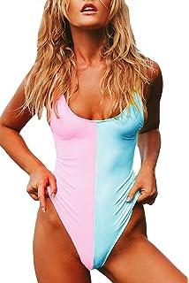 d1b645da486bd Laucote Womens Sexy High Cut Backless Monokini Contrast Color One Piece  Swimsuit