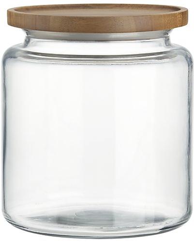 Montana 96 oz. Acacia and Glass Jar | Crate and Barrel