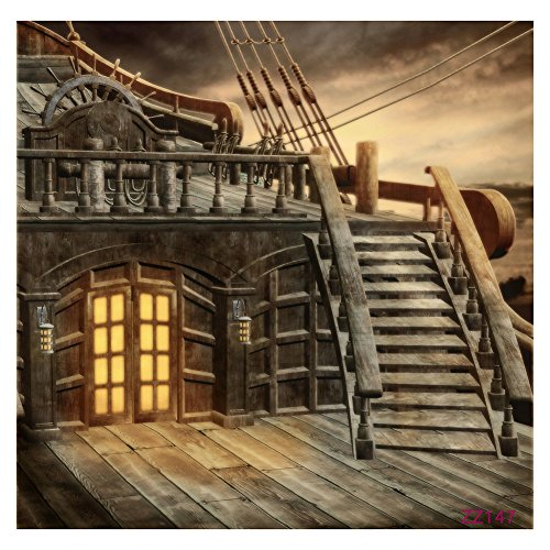 Price comparison product image Pirate Ship Background - TOOGOO(R) 5x7FT Vinyl Studio Photography Backdrop Retro Pirate Ship Photo Background