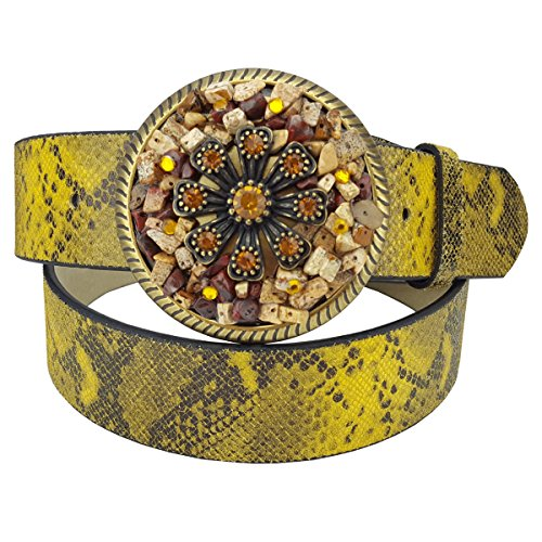 Print Cool Belt Buckle - Leather Belt in Colorful Python Print with Fancy Crystal & Stone Buckle