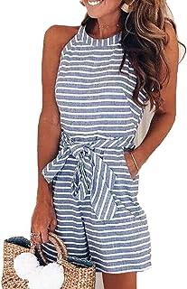 RINKOUa Women Summer Striped Sleeveless Back Zipper Wide Short Pants Rompers Jumpsuits (Sky Blue, Large)