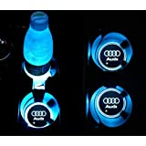 YOJOHUA 2.56 Inch LED Cup Holder Lights for Audi Accessories Car Logo Coaster with 7 Colors Changing USB Charging Mat Luminescent Cup Pad Interior Atmosphere Lamp Decoration Light (2 PCS)