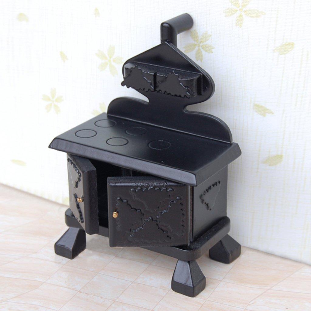 Vintage holz miniatur küche herd schwarz für puppenhaus möbel ...