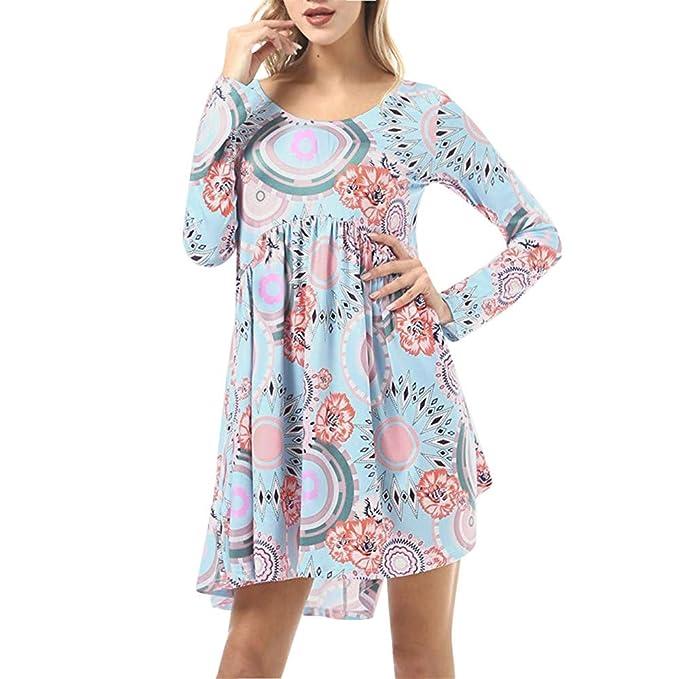 SamMoSon Damen Kleid Sommer Elegant Kleider Knielang