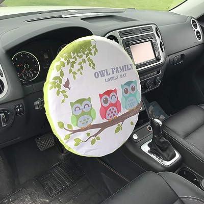 Forala Steering Wheel Cover Universal Fit UV Proof Sun Shade (Rocket) (Owl): Automotive