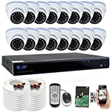 GW 16 Channel 5 Megapixel Video Day Night Security Surveillance System, 16 Weatherproof HD 5MP (2.5X 1080P) Dome Cameras, Motion Detection/Smart Search/Email alert