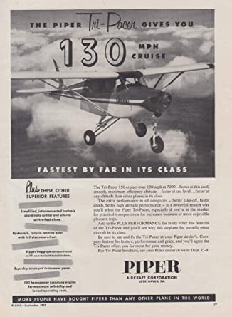 The Piper Tri-Pacer gives you 130mph cruise ad 1957 at