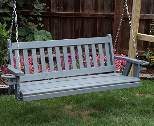 Amish Heavy Duty 800 Lb Mission 5ft. Porch Swing With Cupholders - MADE IN USA - Swing 5 Mission Cedar Foot