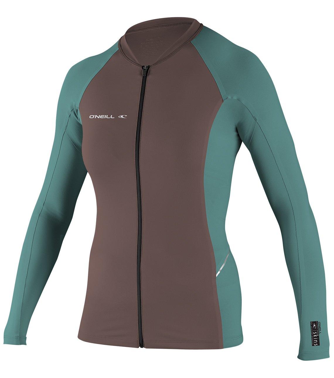 O'Neill Women's Premium Skins Stitchless UPF 50+ Long Sleeve Full Zip Jacket, Pepper/AquaHaze, Medium