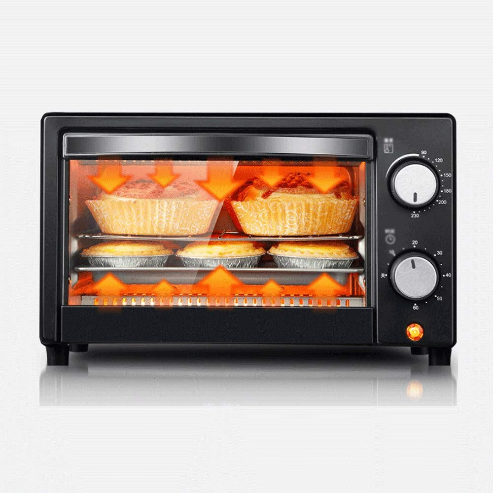 LQRYJDZ Electric Oven Home Compact,with 60 Minutes timed Temperature Control, 1050W Temperature Control,Toast Oven,Pizza Baking Cake Bread Automatic Electric Oven 12 liters - Bake - Broil - Roast by LQRYJDZ