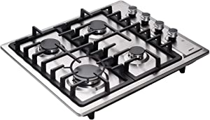 Hotfield 24 inch Gas Cooktop Sealed 4 Burners Stainless Steel Gas Cooktop Drop-In Gas Hob HF524-SA01Z Gas Cooker