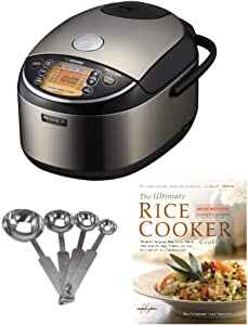 Zojirushi Pressure Induction Heating 10-Cup Rice Cooker/Warmer with Stainless Steel Measuring Spoon Set and Recipe Book Bundle (3 Items)