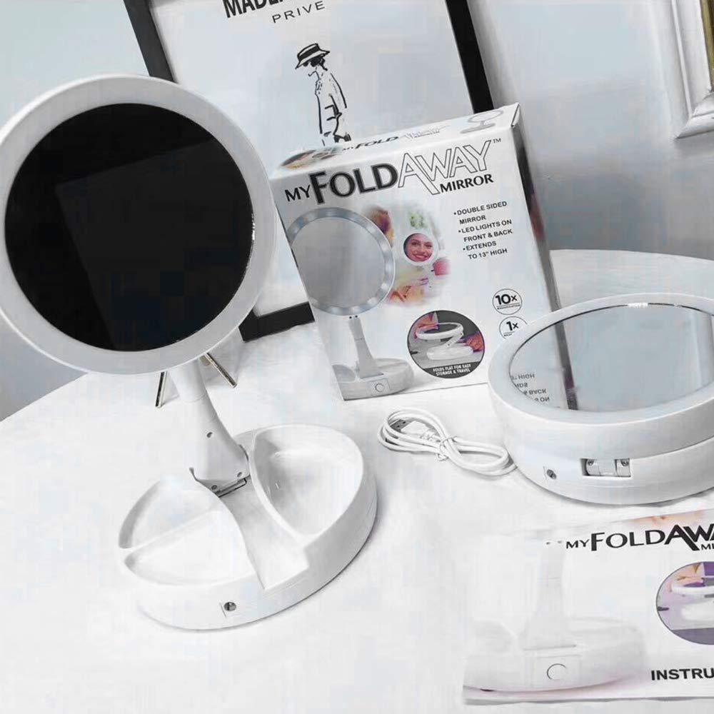 Apark Kosmetikspiegel mit LED Beleuchtung Kompakter Zusammenfalterbarer Reise Schminkspiegel mit Doppelseitiger 1-Fach//10-Fach Vergr/ö/ßerung und Dimmbarer Beleuchtung Wei/ß