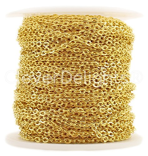 CleverDelights Cable Chain Spool - 30 Feet - Gold Color - 2x3mm Link - 10 Meters from CleverDelights