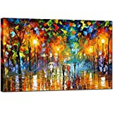 GOUPSKY Tree Oil Painting Colorful Palette Knife Modern Abstract Artwork Rainy Night Canvas Street Landscape Wall Art (24X36 inch)