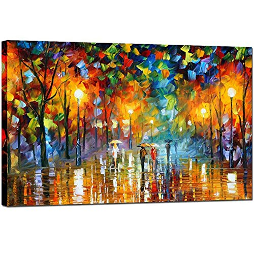 GOUPSKY Tree Oil Painting Colorful Palette Knife Modern Abstract Artwork Rainy Night Canvas Street Landscape Wall Art (12X24 inch)