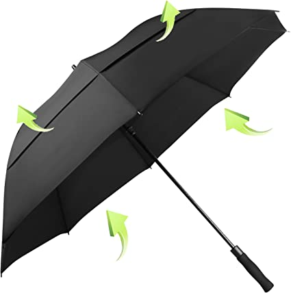 Koler Travel Umbrella Windproof Auto Open Close Large Sized Double Canopy Waterp
