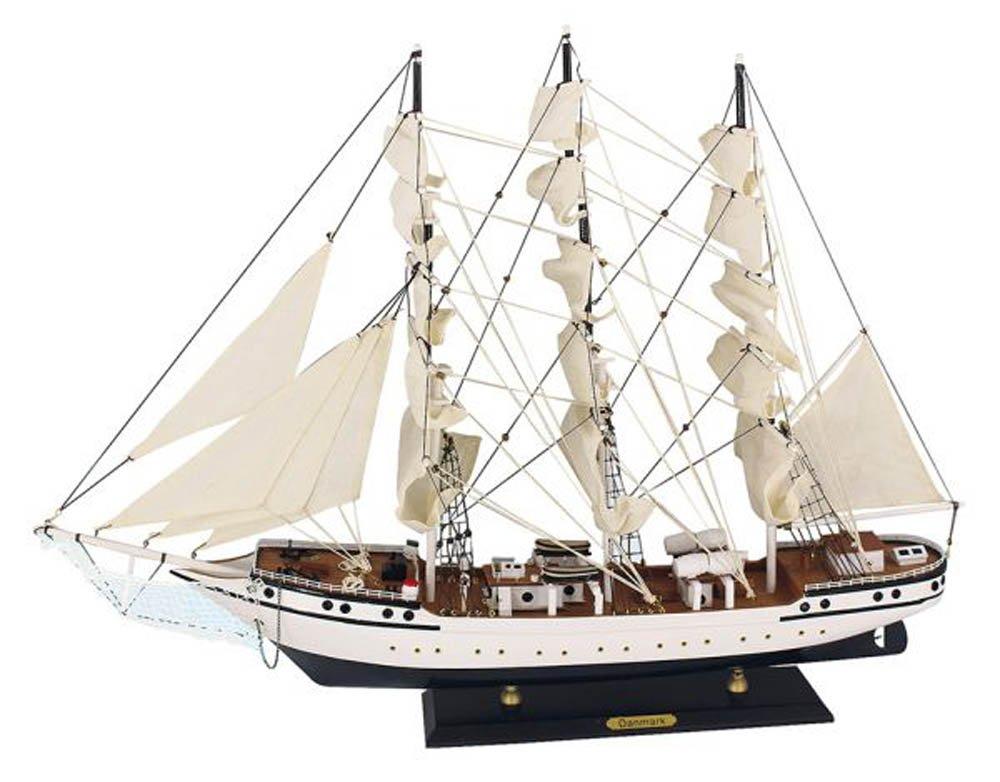 Dänemark Segelschiff Modell Modellsegelschiff Standmodel 3 Master Deko Maritim Ostsee Nordsee Sylt muschel-sammler-shop
