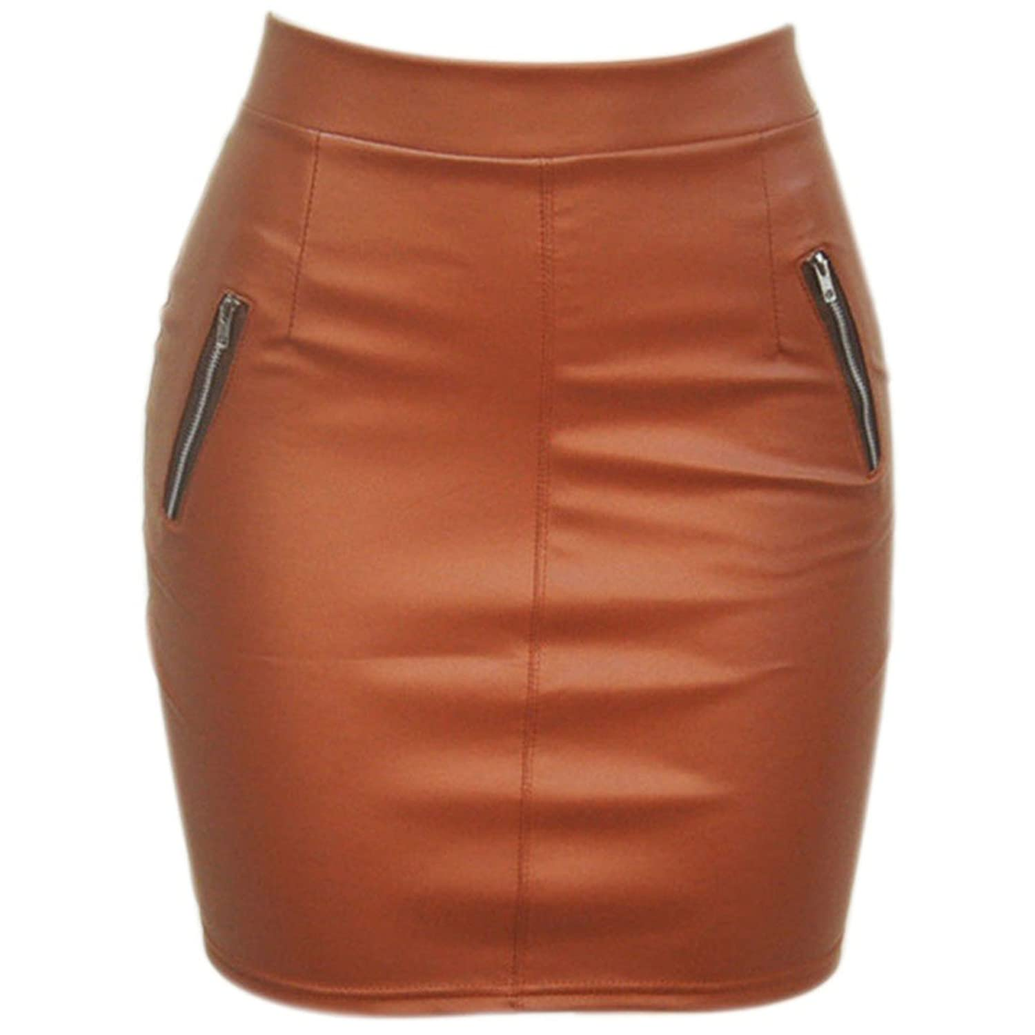 Women Faux PU Leather Bodyocn High waist Wrap Club Mini Skirt Zipper Short New