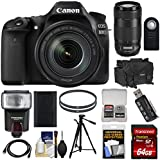 Canon EOS 80D Wi-Fi Digital SLR Camera & EF-S 18-135mm IS USM with 70-300mm IS II USM Lens + 64GB Card + Battery + Case + Filters + Tripod + Flash + Kit