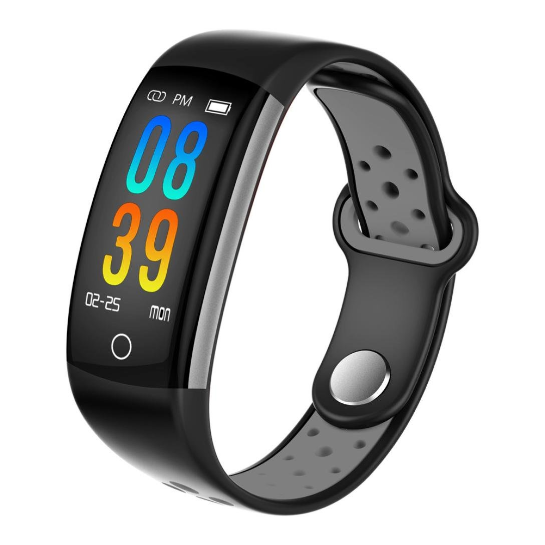 Bluetooth Fitness Tracker-Q6 LCD Screen Display Sports Record Health Monitoring Notice Reminds IP68 Waterproof Smart Watch for Men Women (Gray)