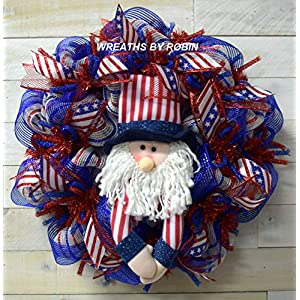 Uncle Sam Wreath, 4th of July Wreath, Memorial Day Wreath, Labor Day Wreath, RWB Wreath, 4006 44