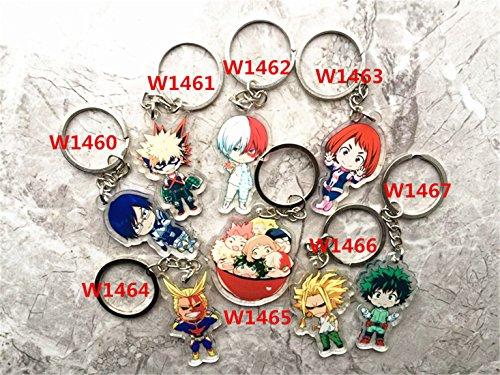 AUGYUESS My Hero Academia Anime Boku No Hero Academia Izuku Midoriya Cosplay Costume Characters Keychain Pendant Key Ring (8 PCS Set)