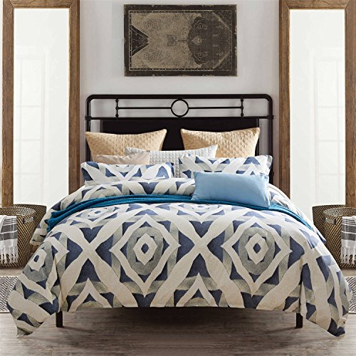 Pumpkin Town Micro, 3 Pieces(1 Cover+2 Pillow Shams),Queen Size, White and Navy Blue, Geometric Pattern Duvet Bedding Set, 1500 Thread Count Super Soft Microfiber with 4 Corner Ties, - Set Duvet Cover Enchanted