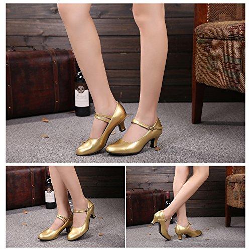 Specchio Davanti PU Tacco Donna in Pelle da Metallo Oro Fibbia Chiuse Ballo Alto ZEVONDA Modern Latino Scarpe twTvFF