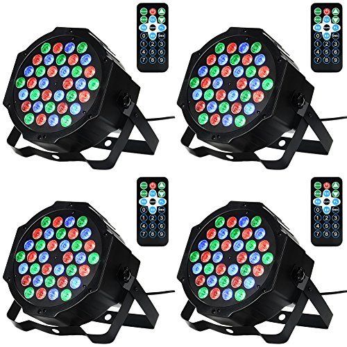 Litake 36LED Par Lights for Stage Lighting with RGB Magic Effect by Remote and DMX Control for Party Show DJ Disco-4 Pack ()