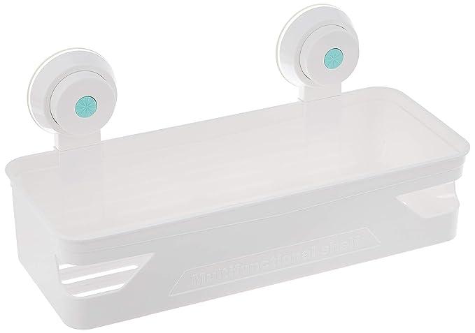 Amazon Brand - Solimo Suction Bathroom Rack/Shelf (Elegant, White)