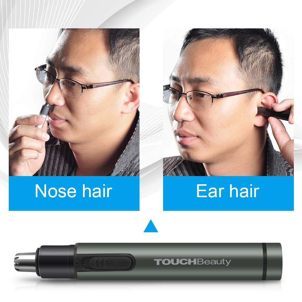 TOUCHBeauty Ear Nose Hair Trimmer for Men Personal Groomer Machine Battery Powered Gray TB-0656M