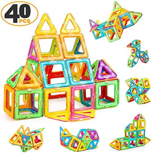 ZENFOLT Magnetic Blocks, Creative Magnetic Tiles Building Blocks Toys Set, 40 PCS Magnet Tiles STEM Preschool Educational Construction Kit for Preschool Toddlers, Kids, Girls, Boys