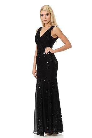 TwinMod Sleeveless V-Neck Chiffon and Lace Contrast Bridesmaid Prom Dress (3XLARGE, BLACK