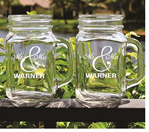 set of 2 mr and mrs mason jar glasses engraved custom monogrammed barware glassware gifts - Mason Jar Glasses