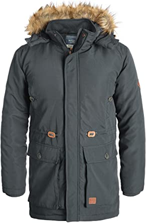 BLEND Polygro Herren Winterjacke Parka Mantel Lange Jacke gefüttert mit Kapuze