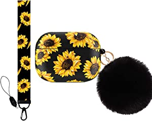 Yodaoo AirPods pro Case Cover, Cute Floral Hard Protective Shockproof Cover with Sunflower Hand Lanyard, Compatible with AirPods pro/3 Wireless Charging Case for Girls Women Teens (Sunflower pro)